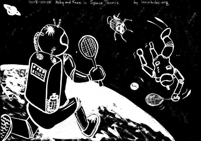 2018-10-05 Itchy and Knee in Space Tennis